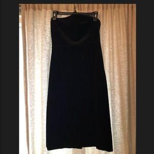 J Crew black velvet strapless dress